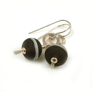 Brown Lampwork Glass and Sterling Silver Drop Earrings