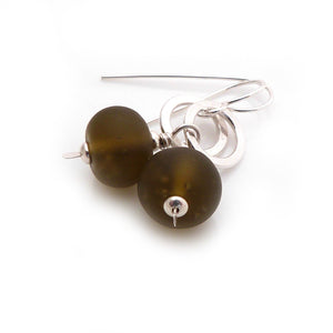 Mojito Olive Green Lampwork and Silver Circle Drop Earrings