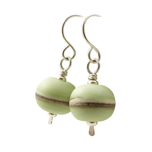 Pale Green Lampwork Glass bead drop earrings with silver hooks