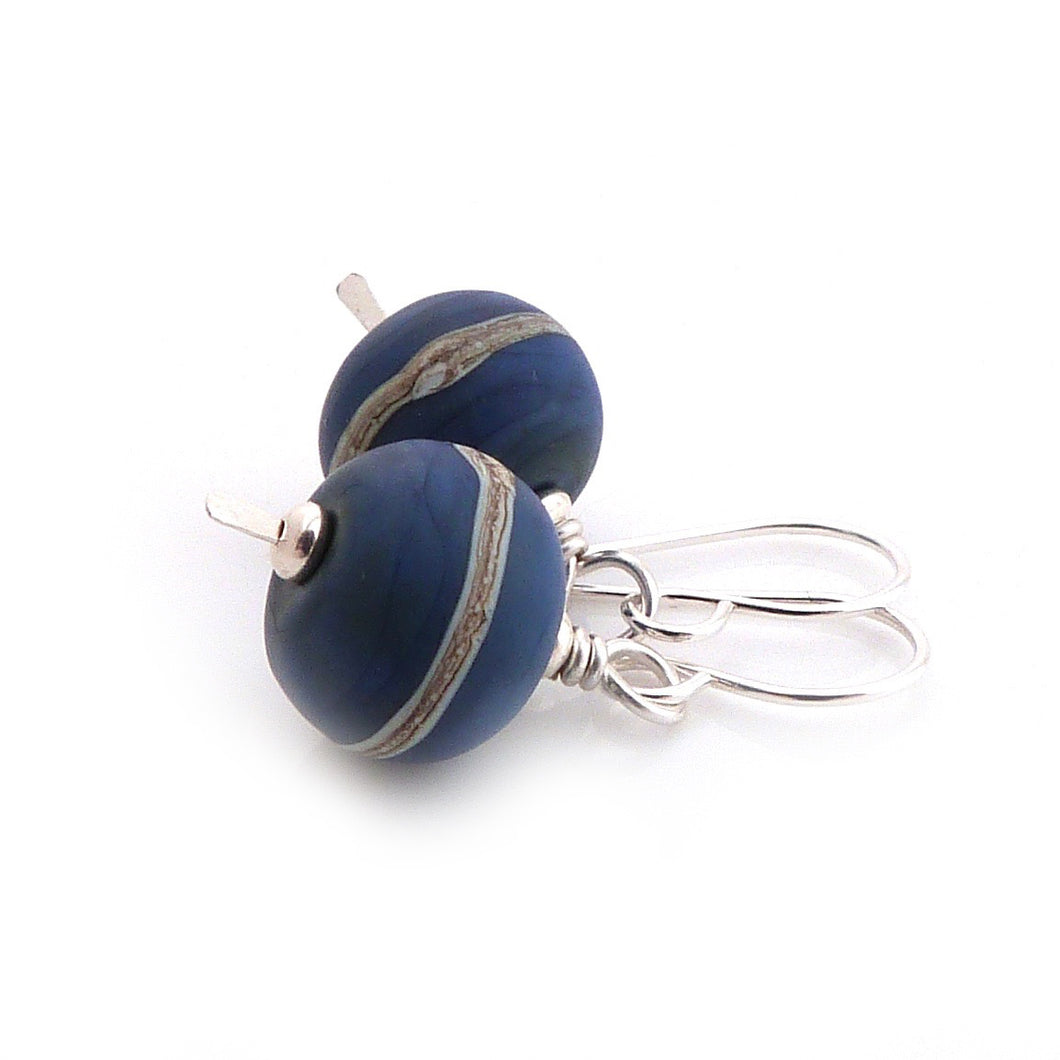 Sterling Silver Drop Earrings with denim blue lampwork glass beads decorated with silvered ivory stripes