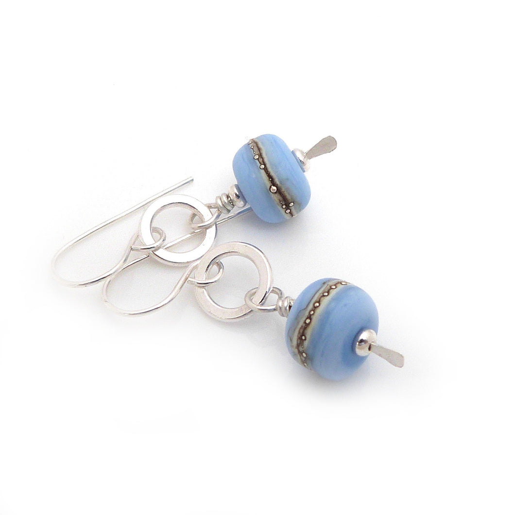 Pale Blue Lampwork Glass and Sterling Silver Dangle Earrings