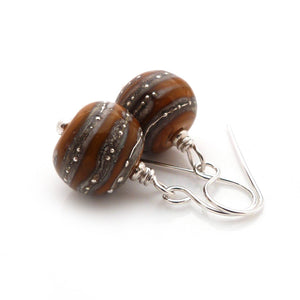 Ochre organic-style Lampwork glass bead drop earrings