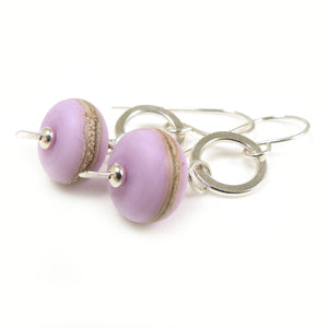 Lilac Lampwork Glass and Silver Dangle Earrings