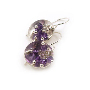 Drop earrings with clusters of Purple Amethyst Gemstones in a sterling silver dish