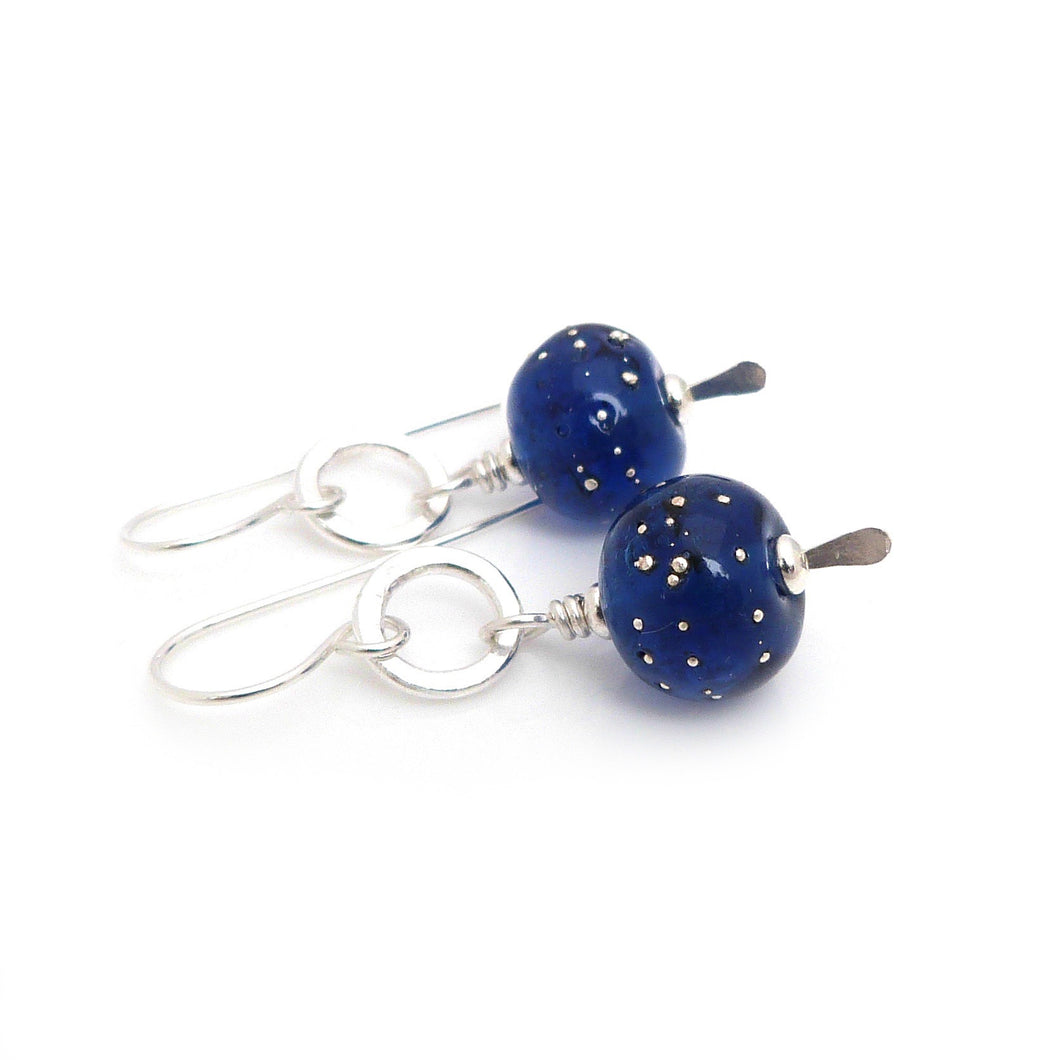Deep Blue Lampwork Glass and Silver Earrings