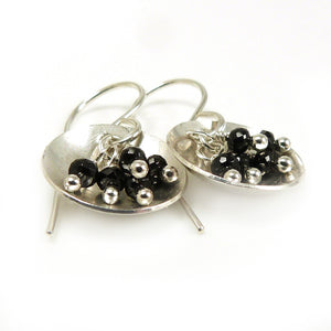 Black Spinel Gemstone and Sterling Silver Dangle Earrings