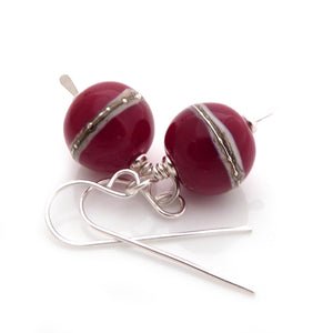 Sterling Silver Drop Earrings with Red lampwork glass beads decorated with silvered ivory stripes
