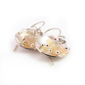xDrop Earrings with Opal Gemstones in sterling silver dishes