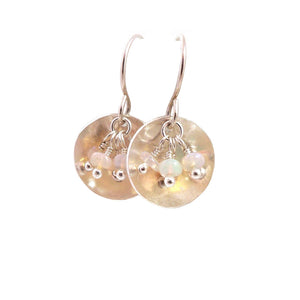 Drop Earrings with Opal Gemstones in sterling silver dishes
