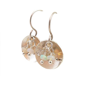 Opal Gemstone and Sterling Silver Dangle Earrings