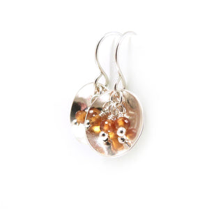 Mandarin Orange Spessartine Garnet Gemstone and Sterling Silver Dangle Earrings