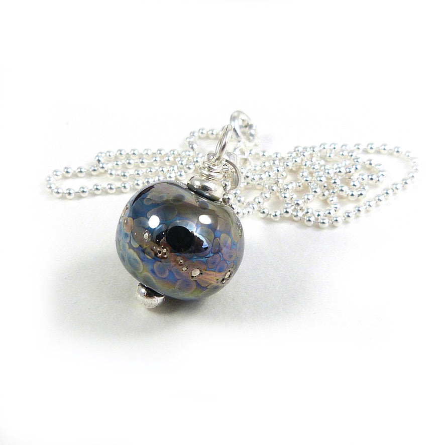 Bronze rainbow speckled metallic bead pendant with sterling silver chain