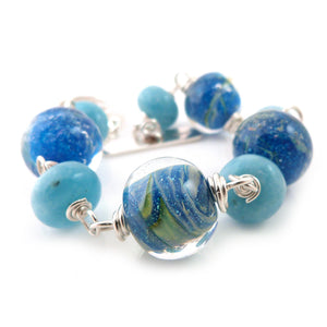 Blue lampwork glass bead, amazonite and sterling silver handmade bracelet