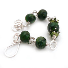 Deep Green Lampwork Glass, Gemstone and Sterling Silver Bracelet ~Forest~
