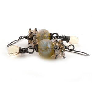 Lemon Yellow Lampwork glass, gemstone and silver dangle handmade earrings