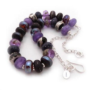 Purple Lampwork bead and silver necklace
