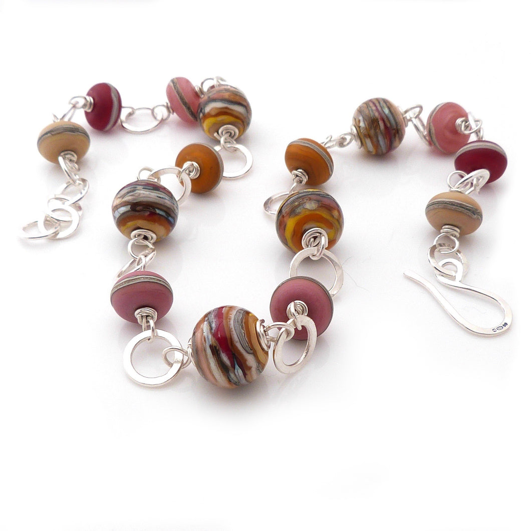 Lampwork glass bead and sterling silver chunky handmade necklace in sunset colours
