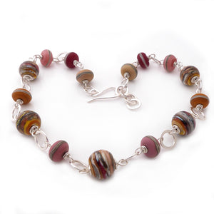 Lampwork glass bead and sterling silver chunky handmade necklace