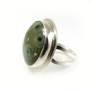 Sage Green Glass and Silver Cocktail Ring