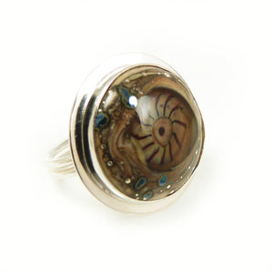 Lampwork glass and silver adjustable cocktail ring