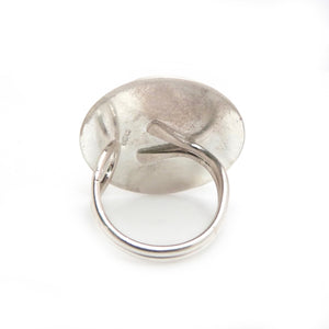 Adjustable Silver Cocktail Ring with Pink Glass Cabochon