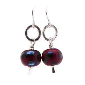 Deep Red Lampwork Glass Bead and sterling silver earrings