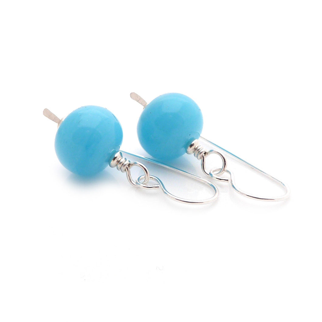 Sterling Silver drop earrings with sky blue lampwork glass beads