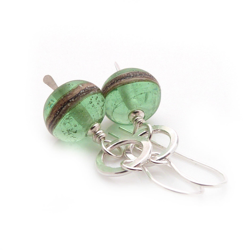 Pale Green Lampwork Glass and Silver Earrings