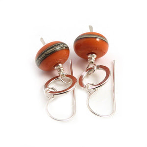 Orange Lampwork glass bead and sterling silver drop earrings