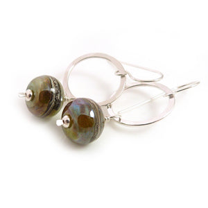 Metallic Yellow-Green Lampwork Glass and Silver Circle Drop Earrings
