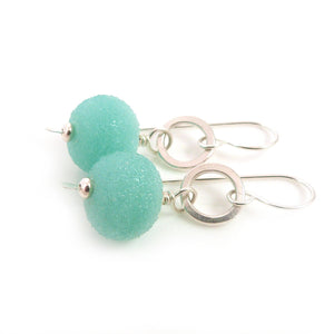 Mint green lampwork glass and sterling silver drop earrings