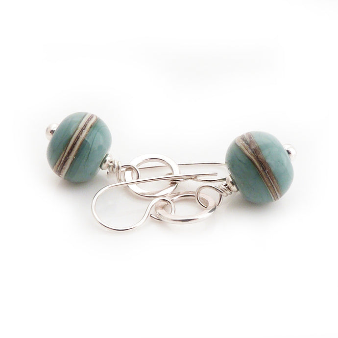 Duck Egg Blue Lampwork Glass and Sterling Silver Drop Earrings