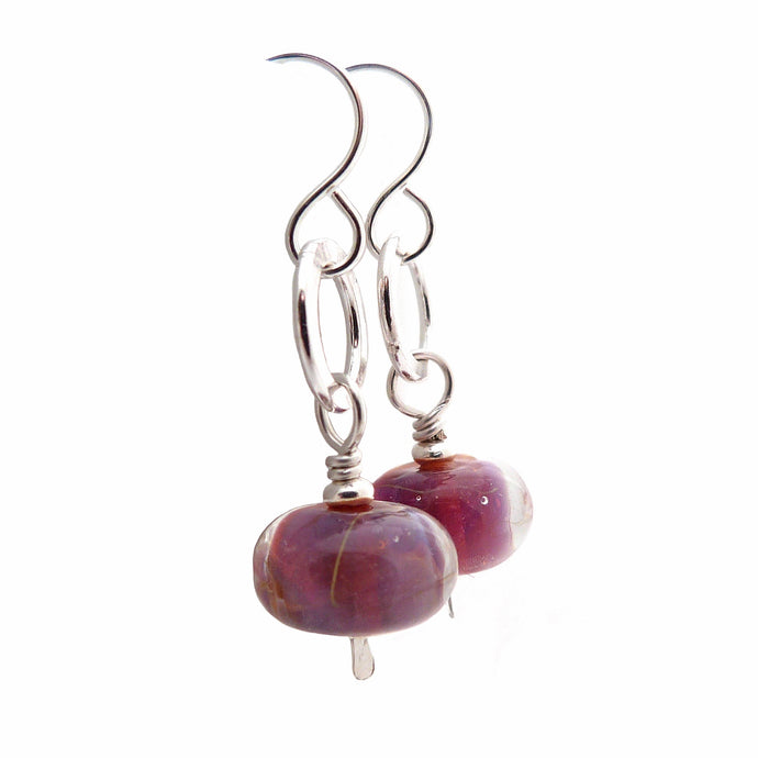 Magenta Lampwork glass bead and sterling silver drop earrings
