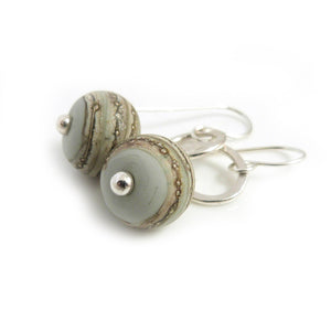 Dove Grey Organic Style Lampwork Glass Bead Drop Earrings with Silver circles and hooks