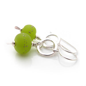Bright Green Lampwork Glass and Sterling Silver Drop Earrings