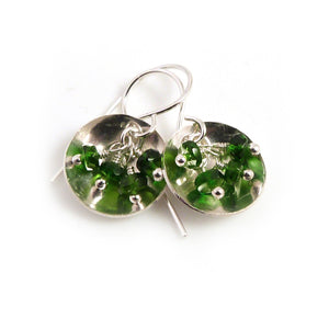 Drop Earrings with chrome diopside gemstones in a sterling silver dish