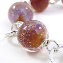 Amber and Lavender Lampwork Glass bead and sterling silver chunky chain bracelet