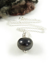 Brown Black Textured Lampwork Glass Bead Pendant and Sterling Silver Chain