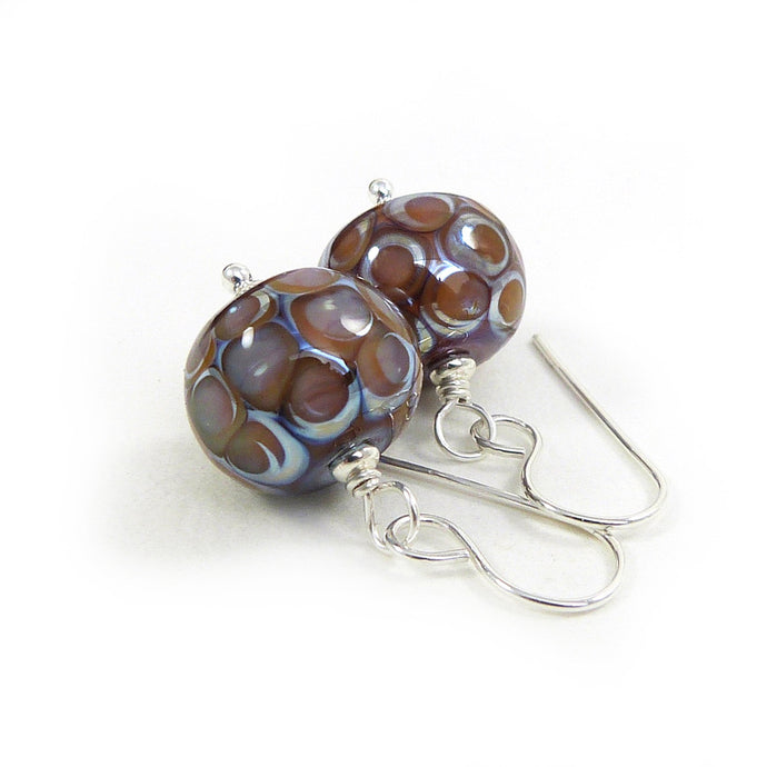 Lilac and amber lampwork dot bead and silver drop earrings