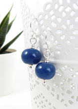 Blue Lampwork glass bead and sterling silver drop earrings