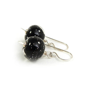 Black Sparkly Lampwork Glass Bead and Silver Earrings ~ Starry Night ~