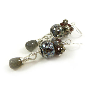 Grey-brown lampwork, gemstone bead and sterling silver long drop earrings