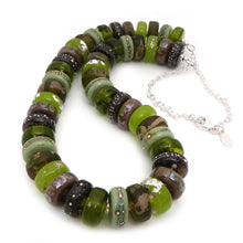 Moss Green and Brown Lampwork Glass Bead and silver handmade necklace