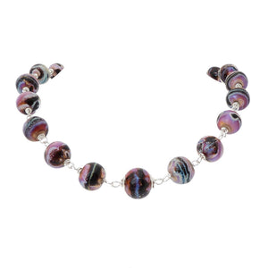 Pink Lampwork Glass Bead and Sterling Silver chunky Necklace with silver hook clasp