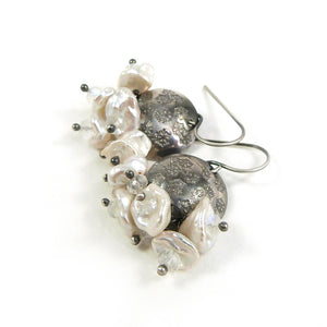 Oxidised silver snowflake disc, cream pearl and rainbow moonstone handmade drop earrings