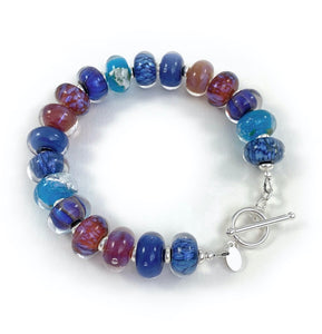 Blue, Purple and Pink lampwork glass bead bracelet with silver toggle clasp