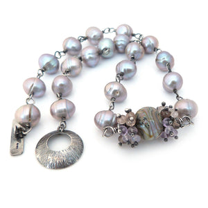 Lavender Pearl, Lampwork Glass, Gemstone and Sterling Silver Statement Necklace ~ Eventide ~