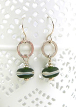 Dark green lampwork glass bead and silver drop earrings