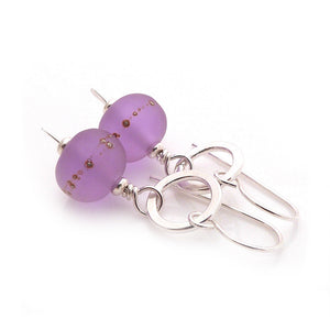 Lavender lampwork glass bead and sterling silver drop earrings