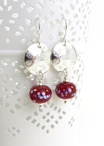 Silver Snowflake Disc and Holly Berry Red Glass Bead Drop Earrings